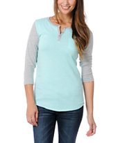 Zine Girls Aruba Blue & Heather Grey Henley Baseball Tee Shirt