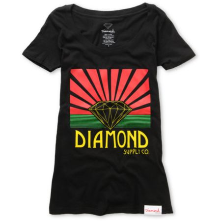 Diamond Supply Girls Shining Black Scoop Neck Tee Shirt