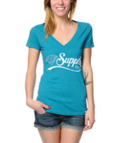 Diamond Supply Girls Diamondaire Teal V-Neck Tee Shirt