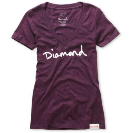 Diamond Supply Girls OG Script Purple V-Neck Tee Shirt