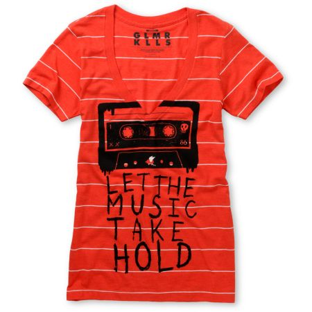 Glamour Kills Let It Take Hold Red V-Neck Tee Shirt