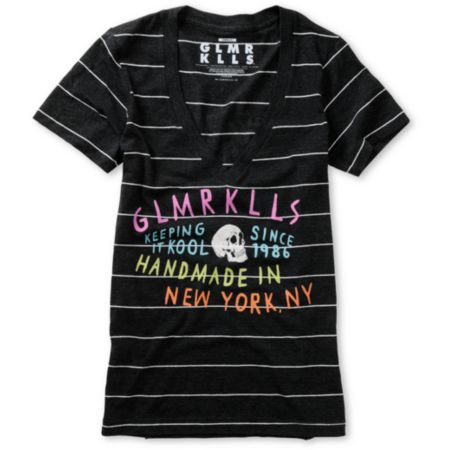 Glamour Kills Keep Cool Charcoal Stripe V-Neck Tee Shirt