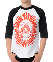 Obey Legion Black & White Baseball Tee Shirt