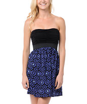 Lunachix Black & Blue Knit Strapless Dress