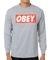 Obey Bar Logo Grey Tee Shirt