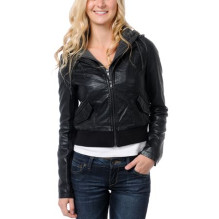 Thread and Supply Black Faux Leather Hooded Jacket