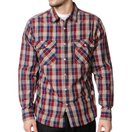 Brixton Memphis Navy Plaid Button Up Shirt