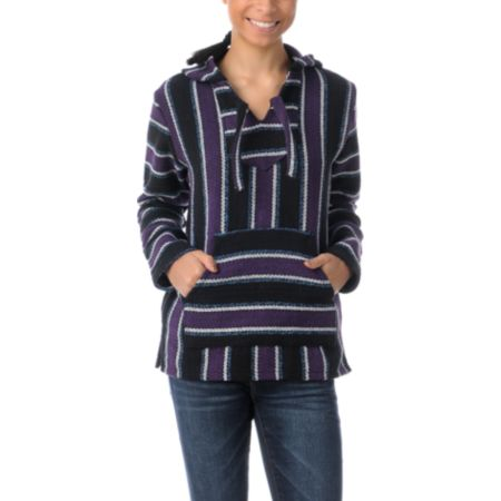 Senor Lopez Black, Purple, Turquoise Girls Poncho