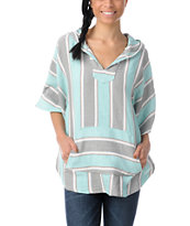 Senor Lopez Girls Grey, Mint & Peach Light Weight Shawl Poncho