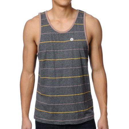 Volcom Well Fair Charcoal Striped Tank Top
