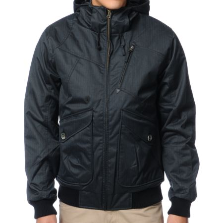 Volcom Guys Cavalier 2 Black Herringbone Jacket