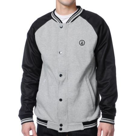 Volcom Varsity Grey & Black Fleece Varsity Jacket