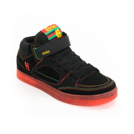 Etnies Number Mid Black & Red & Yellow & Green Skate Shoe