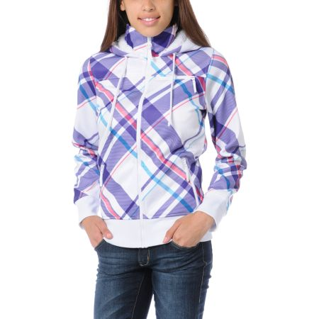 Empyre Girls Timber White & Purple Plaid Full Zip Tech Fleece Jacket