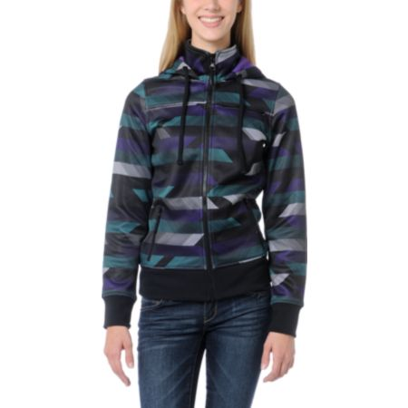 Empyre Girls Timber Black, Purple & Teal Stripe Tech Fleece Jacket