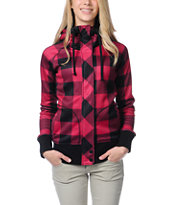 Empyre Girls Oracle Red & Black Buffalo Plaid Tech Fleece Jacket