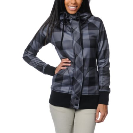 Empyre Girls Oracle Black & Grey Buffalo Plaid Tech Fleece Jacket