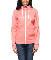 Empyre Girls Essential Heather Coral Full Zip Tech Fleece Jacket