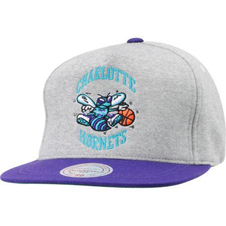 NBA Mitchell and Ness Hornets Heather Fleece Snapback Hat