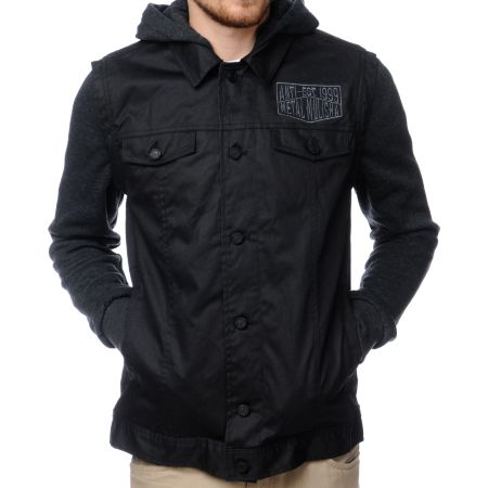 Metal Mulisha Tasked Black Hooded Waxed Jean Jacket