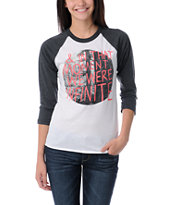 Glamour Kills In The Moment White & Charcoal Baseball Tee Shirt