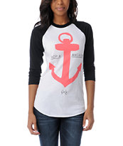Glamour Kills Drop & Anchor White & Black Baseball Tee Shirt