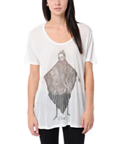 Obey Girls Bryan Proteau Eye Cloak White Beau Tee Shirt