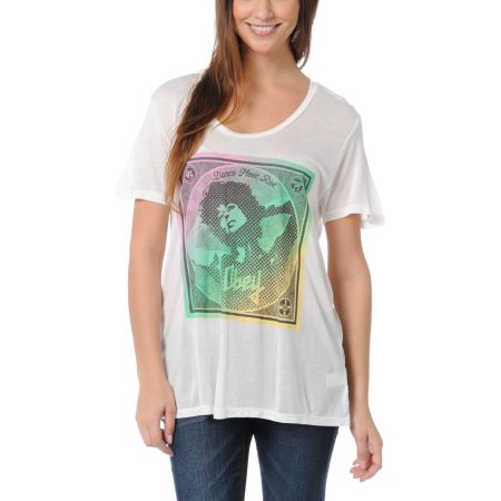 Obey Girls Dance Floor Riot White Beau Tee Shirt