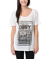 Obey Punk Flyer White Nubby Throwback Tee Shirt