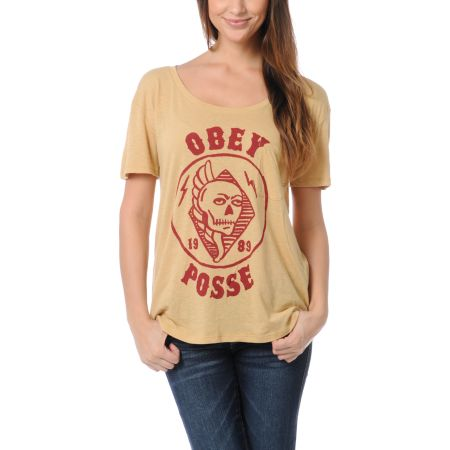 Obey Kill Em All Sand Yellow Nubby Throwback Tee Shirt