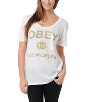 Obey Girls LA White Nubby Throwback Tee Shirt