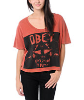 Obey Wasted Youth Rust Orange Vintage Crop Tee Shirt