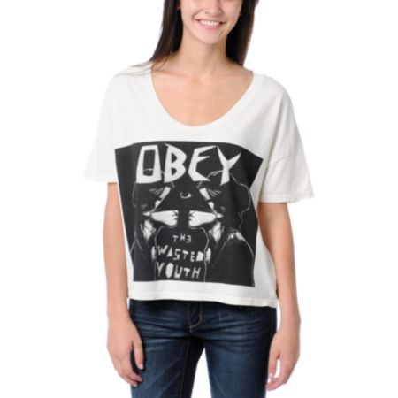 Obey Wasted Youth Grey Vintage Crop Tee Shirt