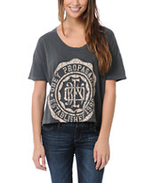 Obey College Crest Charcoal Grey Vintage Crop Tee Shirt