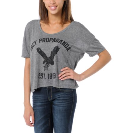Obey Girls Screaming Eagle Black Mock Twist Gym Tee Shirt
