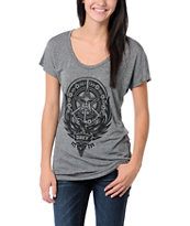 Obey Girls Peace Phoenix Black Mock Twist Tee Shirt