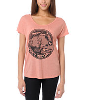 Obey Girls Hi-Fi Records Red Mock Twist Tee Shirt