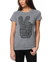 Obey Dirty Peace Fingers Heather Grey Tee Shirt