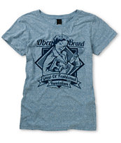 Obey Brandalism Heather Blue Tee Shirt