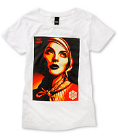 Obey Girls Rise Above Rebel White Tee Shirt