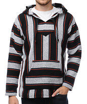 Senor Lopez Black, White & Red Poncho
