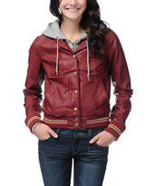 Obey Varsity Lover Burgundy Faux Leather Jacket