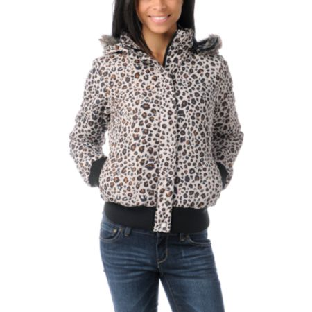 Volcom Girls Hot Mitts Leopard Print Puffer Bomber Jacket
