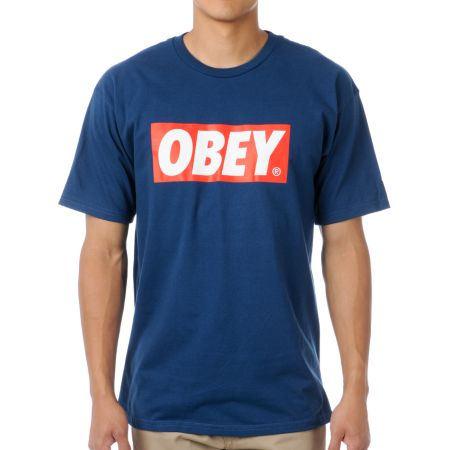 Obey Bar Logo Navy Tee Shirt