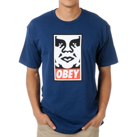 Obey Icon Face Dark Blue Tee Shirt