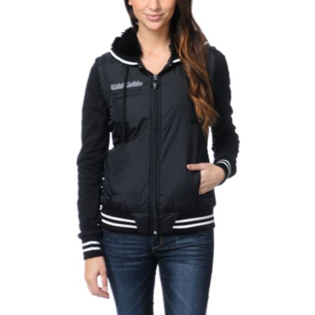 Metal Mulisha Girls Sportsman Black Vest Varsity Jacket