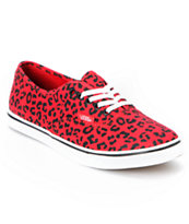 Vans Girls Authentic Lo Pro Red Leopard Print Shoe