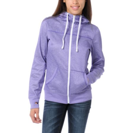 Empyre Girls Essential Heather Purple Full Zip Tech Fleece Jacket