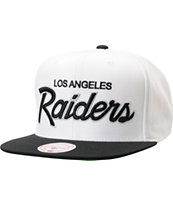 NFL Mitchell and Ness Raiders Script BOTB White Snapback Hat
