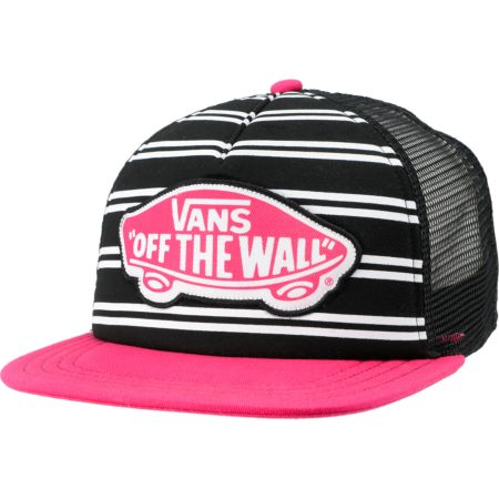 Vans Girls Skimmer Black & Pink Trucker Hat